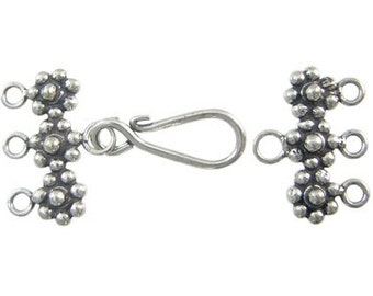 SALE Handmade Bali Oxidized Sterling Silver Multi Strand Silver Flower Clasp - 1 set