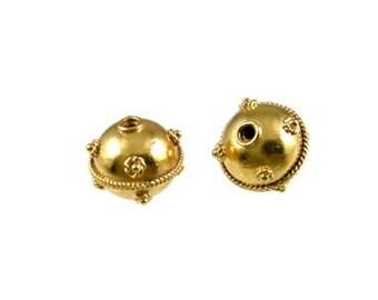 Handmade 24 Carat Gold Vermeil Bali Round Beads - 2 pcs.