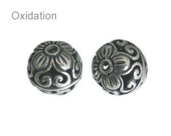 Handmade Oxidized Sterling Silver Bali Round Casted Filigree Beads - 2 pcs.