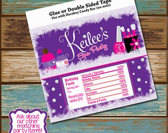 Personalized Digital Invitations Spa Party Candy Bar Wrapper Hershey