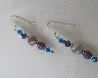 Soft Gray and blue earrings
