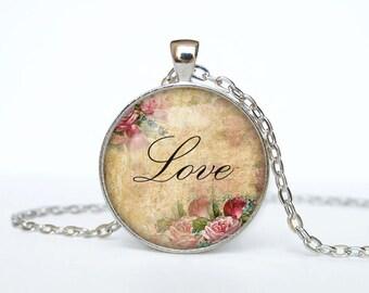 Love necklace Love pendant Love jewelry Love word