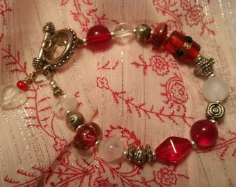 Red Glass Beads and Metal Bracelet