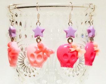 Kawaii, Ribbon, Skull, Earrings, pop kei, pastel goth, pastel lolita, Pink, star, harajuku,