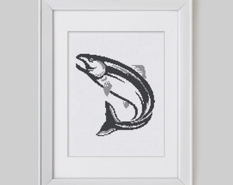 Salmon cross stitch pattern, salmon counted cross stitch pattern, modern cross stitch pattern, salmon cross stitch pdf pattern