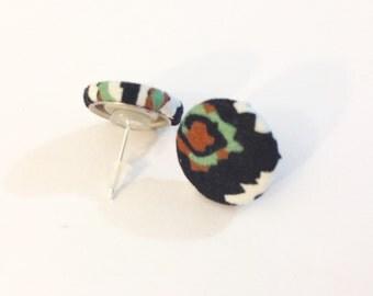 Aztec Print Fabric Button Stud Earrings