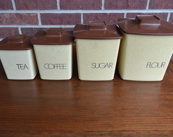 Vintage Plastic Nesting Canisters / Tan and Brown / Flour, Sugar, Coffee, Tea