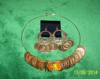 Gold Coin & Bead Necklace and Earrings