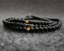 Men's Bracelet - Triple Wrap - Gold Colored Beads - Matte Black Beads - Polygon Shaped Beads - Gunmetal Clasp