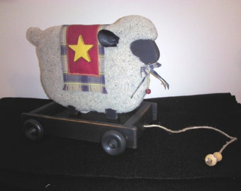 Country Sheep in Wagon