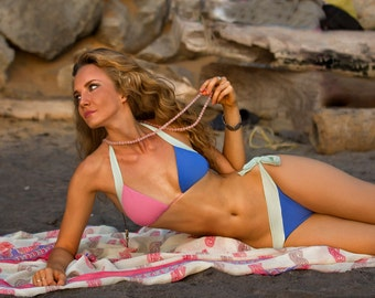 Romantic Pink-Blue low rise bikini set