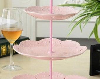 Three tier ceramic Vintage lace cupcake stand birthday party dessert stand cake plate dessert plate weddding party macaron