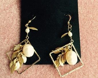 Gold Pearl and leaf dangle earrings