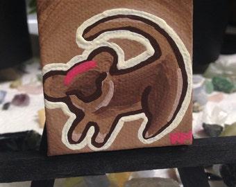 Baby Simba Lion King Inspired Original Micro Acrylic Painting