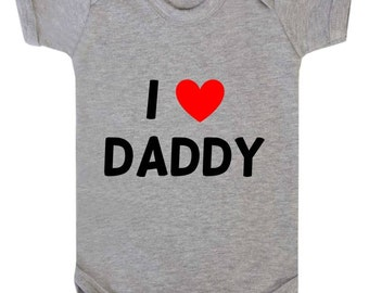 I Love Daddy (I Heart My Daddy) Cute Baby Onesie