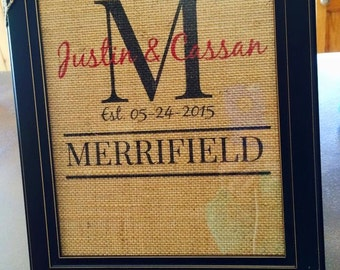 Personalized Monogram Burlap Print with wedding date