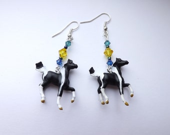 Black and white Tobiano Paint/Pinto Horse Swarovski Crystal Earrings