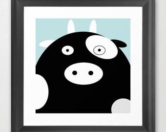 Cow Framed Art Prin / Cow Framed / Cow Nursery