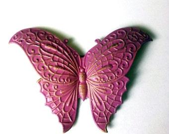Vintage metal brooch Butterfly Lilac
