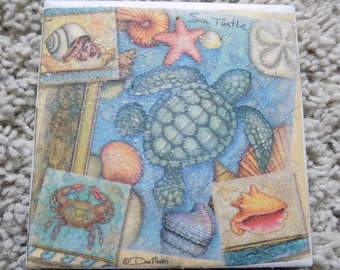 Sea Turtle Ceramic Tile Coasters (Set of 4)
