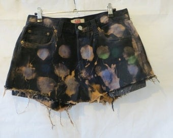 Levis Short/acid wash/ hand painted /multi colour/short/summer short/Festival Short/Batty Ridder / high waisted shorts/Levis 501/waist 30