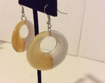 White lacquered buffalo horn chunky hoop earrings