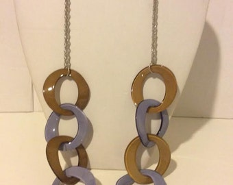 Brown and purple long chunky resin link necklace