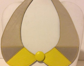 Tan and yellow soft leather collar necklace