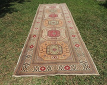 Vintage Turkish runner rug Kayseri carpet