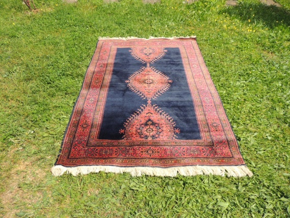 Vintage navy Turkish area rug