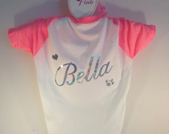 Custom Dog T-Shirt. American Apparel Dog Clothes. Personalised Dog Shirt  Customized with Dogs Name. Personalized Dog Clothes