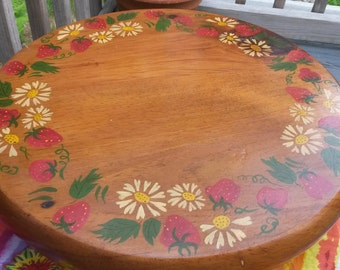 Vintage Wooden Painted Lazy Susan with Strawberries and Strawberry Blossoms