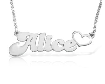 Name Locket Necklace With Heart Unique Gift Name Necklace Name Chain Silver Name Necklace Pendant silver nameplate namenecklace Silver