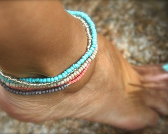 Turquoise Anklet Beaded Stretch Stack Turquoise Ankle Bracelet Boho Anklet Beach Beaded Bracelet Coral Gray Beige Gift Woman Man Holiday