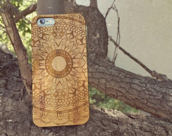 Hand Drawn Floral Plumeria Mandala Doodle Inspired Laser Engraved on Genuine Wood Cell phone Case for iPhone 5/S, 6/S and 6 plus IP-014