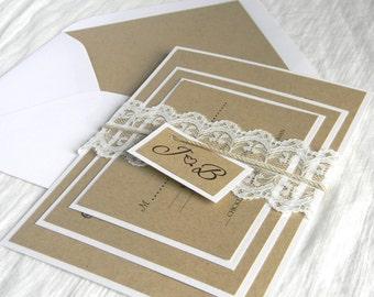 Rustic Vintage Elegant Wedding Invitation SAMPLE SET