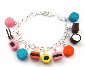 Faux Liquorice Allsorts Sweets Clay Bracelet