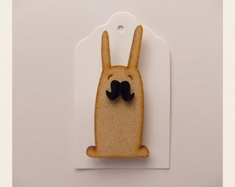 Bunny with mustache Brooch