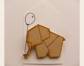 Origami Elephant Brooch