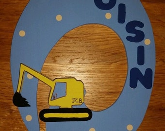 Handmade JCB Diggers Themed 3D Character Personalised Wall / Door Plaque Custom Made