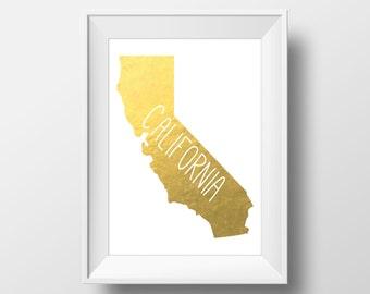 California State Gold Foil Printable Art, California Print, California Art, Modern Art,