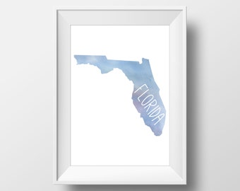 Florida State Blue Watercolor Printable Art, Florida Print, Florida Art, Modern Art,