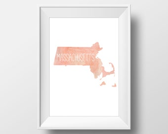 Massachusetts State Pink Watercolor Printable Art, Massachusetts State Print, Massachusetts Art, Modern Art,