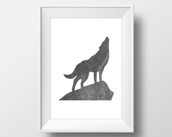 Black Watercolor Wolf Print, Wolf Print, Wolf Wall Art, Watercolor Wolf, Printable Wolf Art, Wolf Decor, Animal Nursery Decor