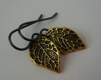 Minimalist Earrings Niobium Hypoallergenic Earrings Black Gold Leaf Earrings Antique Gold Leaf Earrings Niobium Earrings Hypoallergenic Tiny