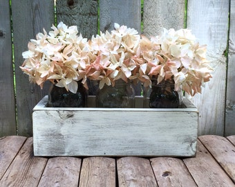 "Rustic Reclaimed Wood 12"" inch Box Centerpiece - Hand Painted Distressed Mason Jars Upcycled Wooden Wedding Planter Riser"
