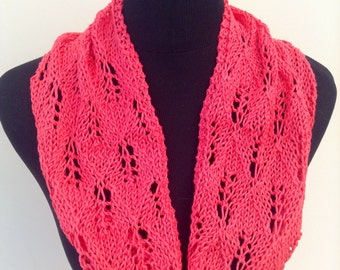 Ladies cotton lace knit summer snood / scarf by Willow Luxury