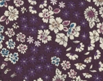 9 - Cheerleading - lightweight cotton Japanese fabric - sold by 10 cm (110 x 10 cm) - flower Collection - Aubergine