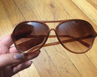 Vintage Brown Aviator Style Sunglasses