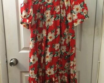 Vintage Hawaiian Print Midi Dress!